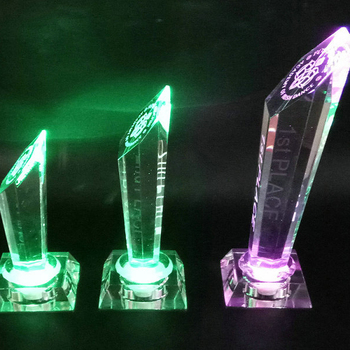 Custom engraved logo champions award crystal trophy with led lighting