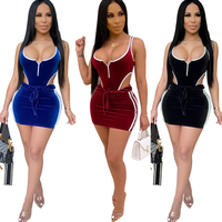 Women Sexy Velvet Bodycon Dress Two Piece Set Clothing 2 Piece Outfit Dresses