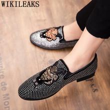 Мужские парадные туфли, лоферы, роскошные мужские туфли для вечеринок, оксфорды со стразами, мужская обувь большого размера, Мужская Свадеб...(China)