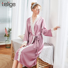 Silk Kimono Robes Women's Bathrobe Lingerie Lace Pajamas Wedding Bridal Robe Long Belt Sleepwear
