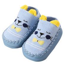 Зимние носки с рисунками для новорожденных детские Нескользящие хлопковые носки-тапочки с нескользящей подошвой детские носки L505910(China)