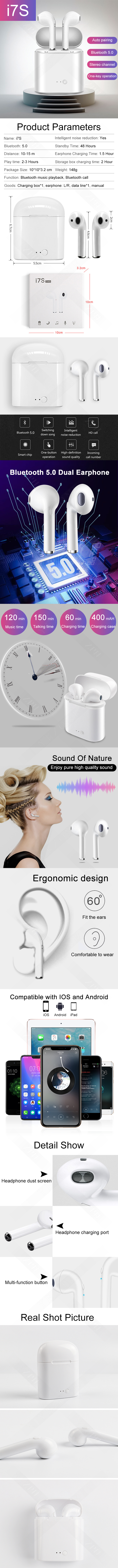 Factory outlet i7s Wireless Earbuds Sports BT In-Ear Headphones Stereo Headphones
