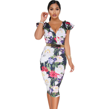 Hot Jauh V Midi Bodycon Wanita Floral Dress