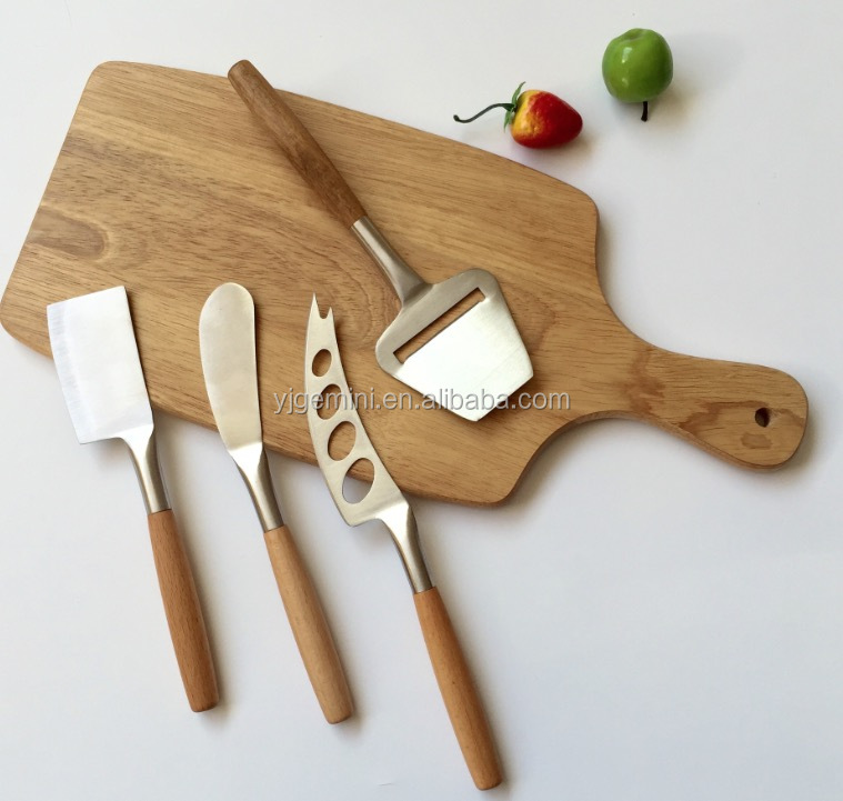 4 piece beadable  cheese knife set  stainless steel  gold cheese board and knife   wooden box with wood handle