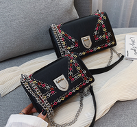 2019 fashion retro embroidery small Handbag autumn new beaded chain small square bag lock single shoulder Messenger bag