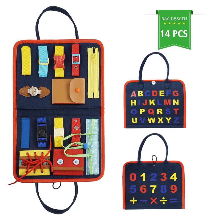 Toddlers के लिए व्यस्त बोर्ड मोंटेसरी अर्ली शिक्षा गतिविधि खिलौने बैग शिशुओं के लिए बनाया गया बताए खिलौना