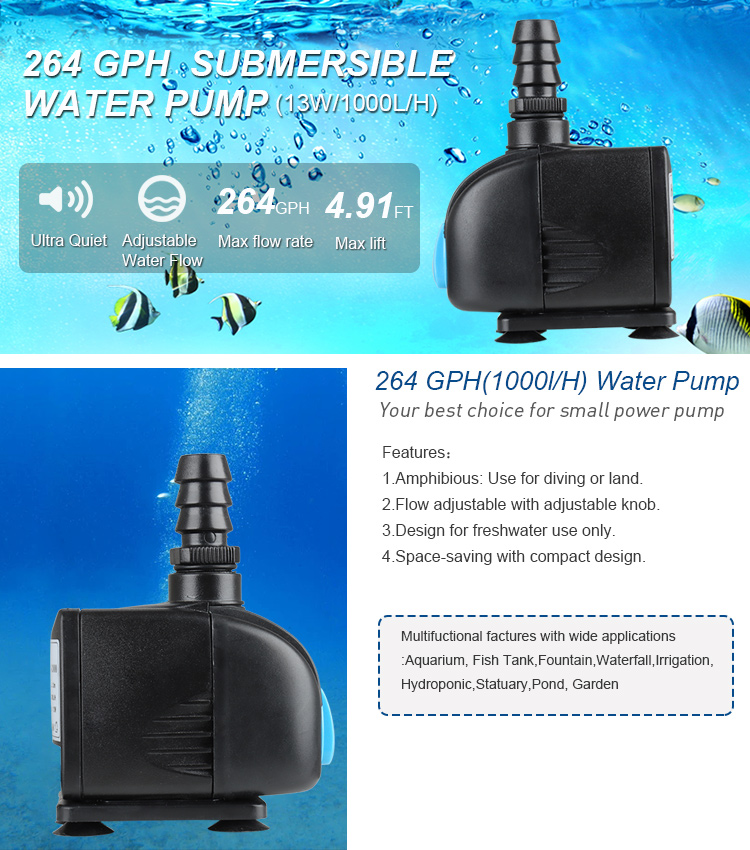 Hetoขนาดเล็กSubmersible Aquariumปั๊มน้ำAquariumปั๊ม,ปั๊มน้ำสำหรับถังปลาพิพิธภัณฑ์สัตว์น้ำ