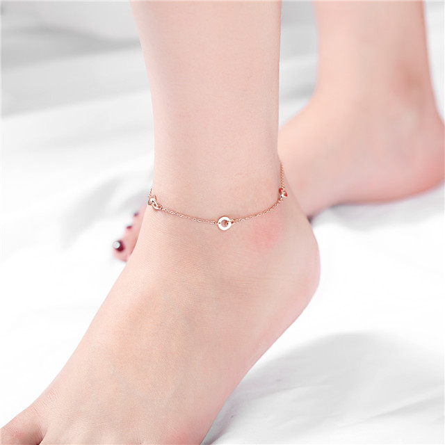 Double Looped Circle Whosale Chinese Jewellery Stainless Steel Women Anklets Foot Jewelry Free Shipping