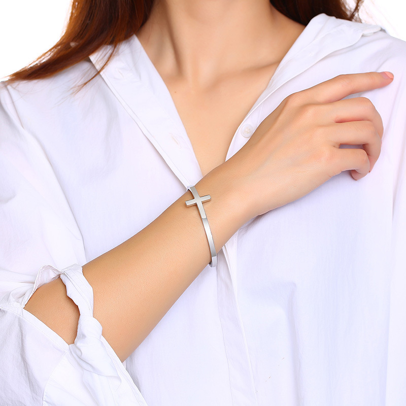 product-BEYALY-Trendy Fashion Stainless Steel Simple Adjustable Cross Bracelet-img