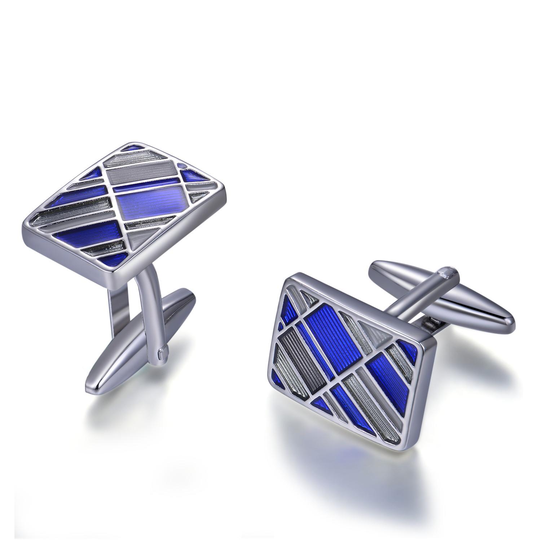 Classic Popular 925 Sterling Silver Cufflink Blue Rhodium Plated jewelry(图1)