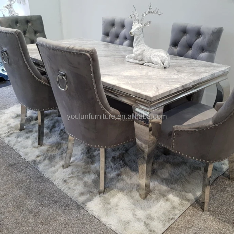 Artificial Natural Korean Italian Dubai White Grey Rectangle Luxury 6 8 10 12 Seater Marble Top Dining Table Sets