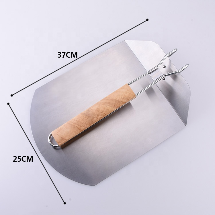 Heavy Duty Stainless Steel Rubber Wood handle Portable Folding Pizza Peel