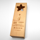 High Quality Customized Wooden Trophy Souvenir Solid Wooden Trophy with Star Hollow Design