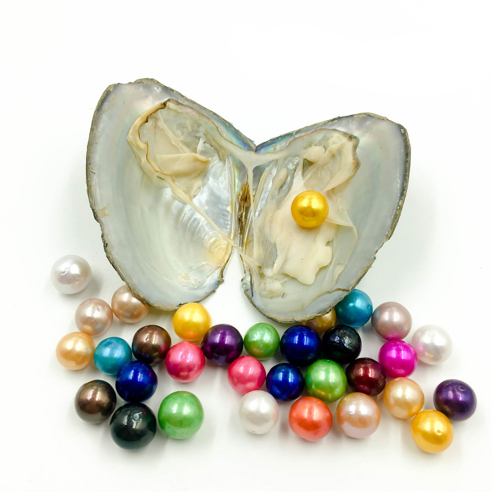 2019 giant 9-12mm Colored Edison big large giant round grade high quality pearls natural pearls in oyster with vacuum packing