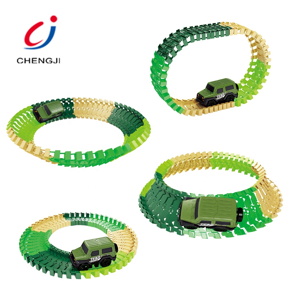 Educational kids rotating track racing car electric plastic speed rail car toys