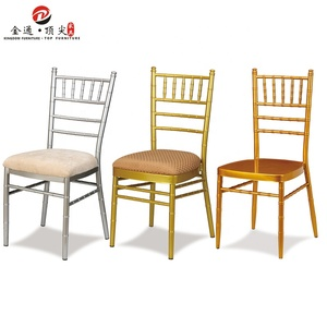 Golden Prince Hotel Wedding furniture stackable metal resin clear black gold chivari chairs