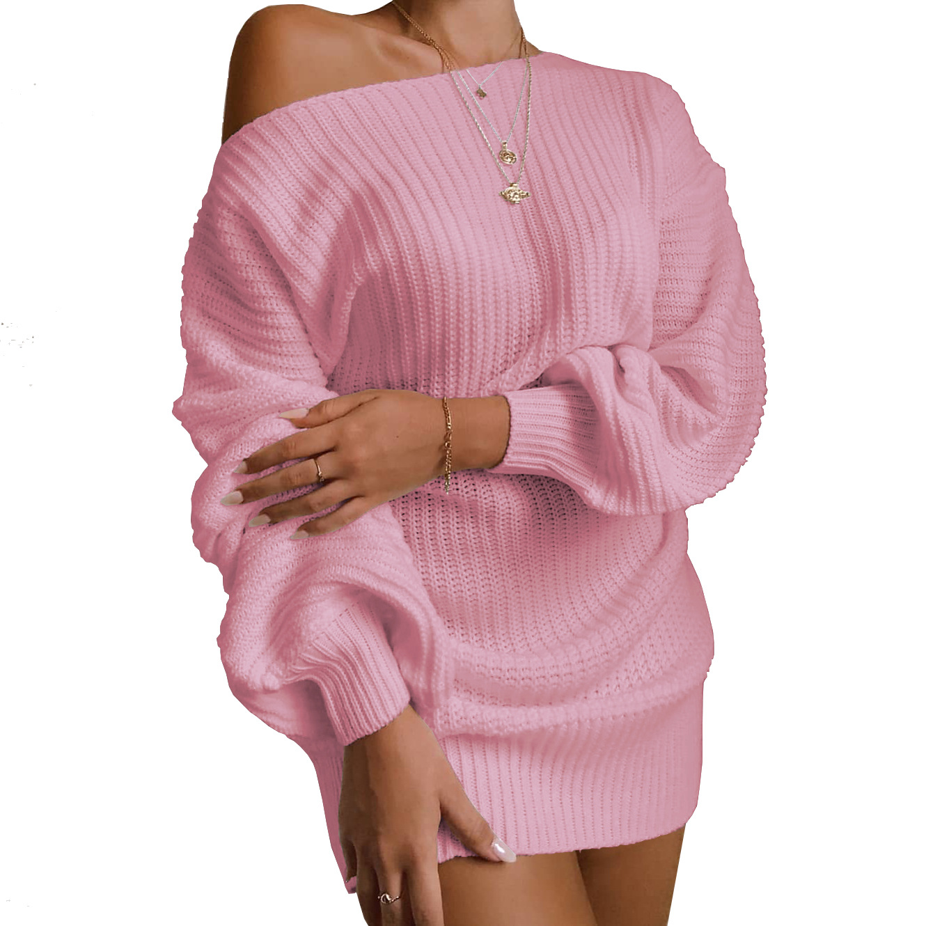 M718 High quality women winter clothing fashion off shoulder bubble sleeve loose pullover warm knit long sweaters women