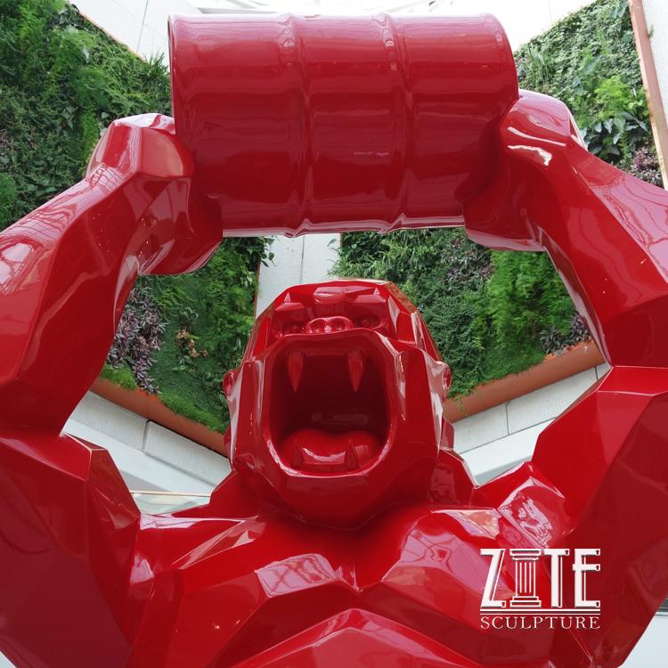 Custom Outdoor Richard Orlinski Fiberglass Wild Kong Oil Gorilla Statue