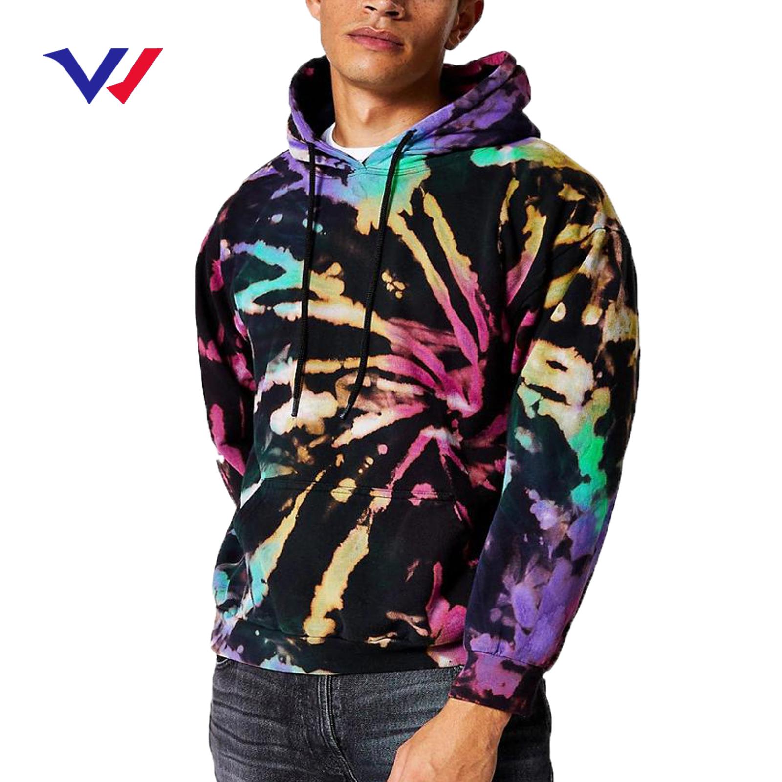 Männer beiläufige hoodies hersteller hohe qualität streetwear dicke übergroßen polyester pullover tie dye hoodie