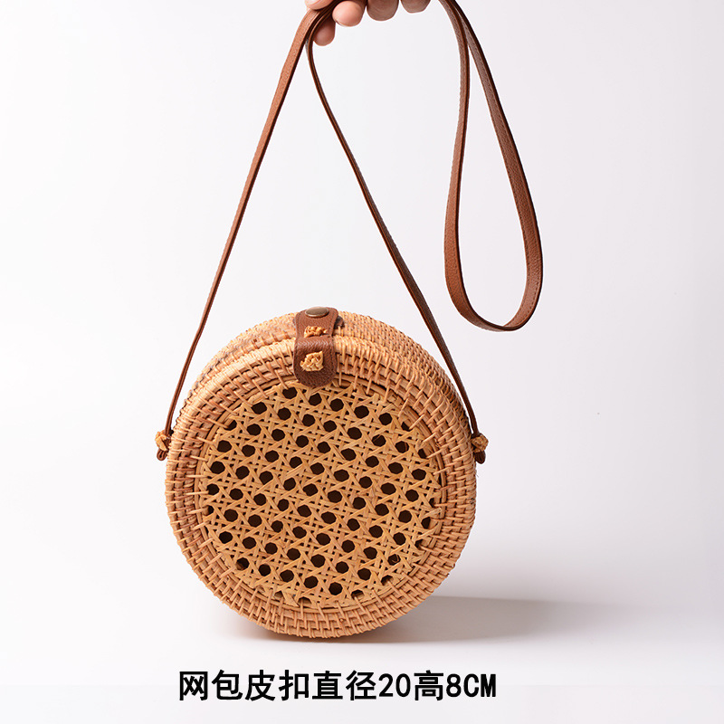 Wholesale Vintage Handbag Woven Beach Handmade Round mini Rattan Straw Bag
