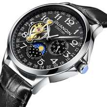 GUANQIN механические часы, мужские водонепроницаемые автоматические часы с турбийоном(Китай)