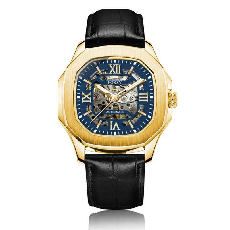 Black Transparent Own Brand Men Square Fashion Wrist Custom Luxury Watch Logo Oem Automatic Movement