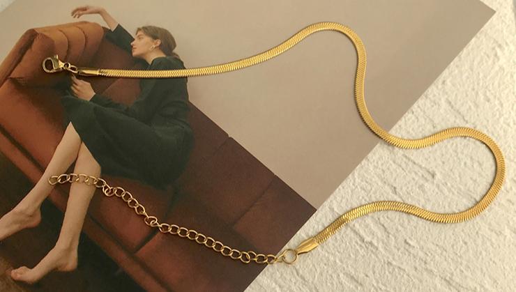 מותאם אישית נירוסטה טרנדי זהב אדרה שרשרת שרשרת כסף זהב קישור שטוח נחש שרשרת אדרה קולר שרשרת