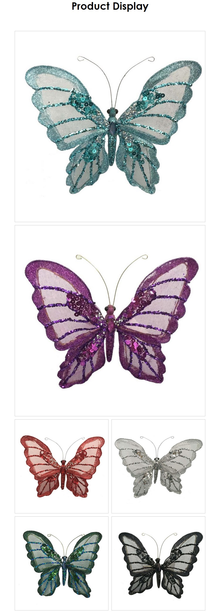 Decorative Butterfly With Clip Christmas Glitter Butterfly For Window Display Buy Decorative Butterfly Christmas Butterfly Glitter Christmas