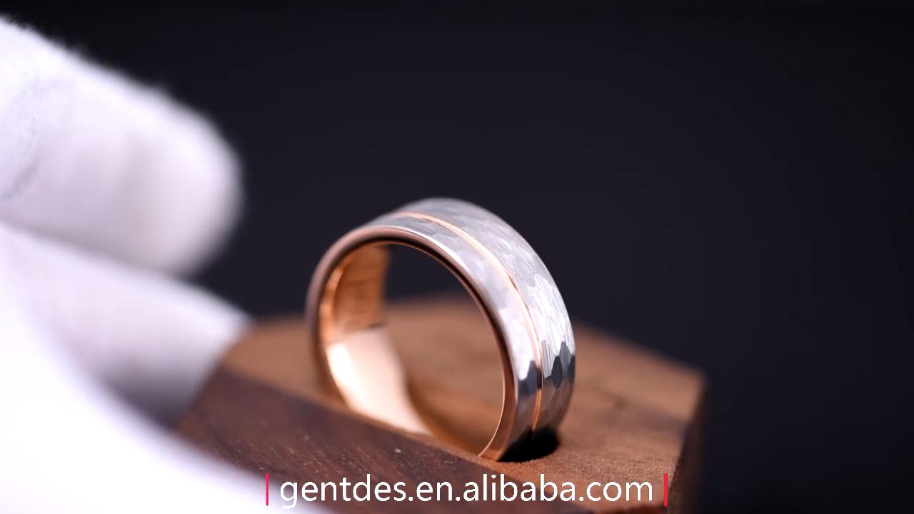 Gentdes Jewelry Custom Hammered Rose Gold Mens Tungsten Wedding Rings