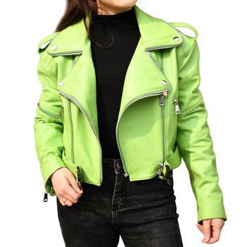 High Quality Leather Jacket for Women Sexy Genuine Leather Coat Green Leather Women Jacket