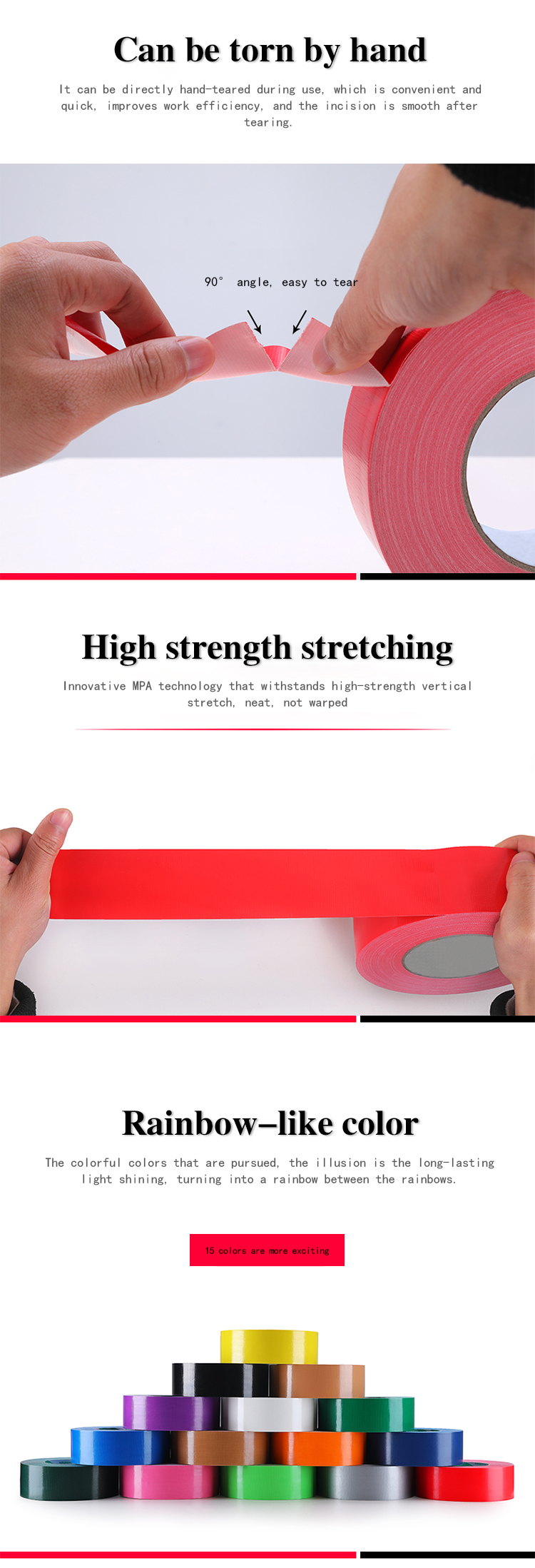 Free Sample Strong Adhesive Easy Tear Gaffer Cloth Duct Tape
