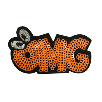 Custom High Quality OMG Sequin Patches Iron on Sew On Patch Embroidered Patch