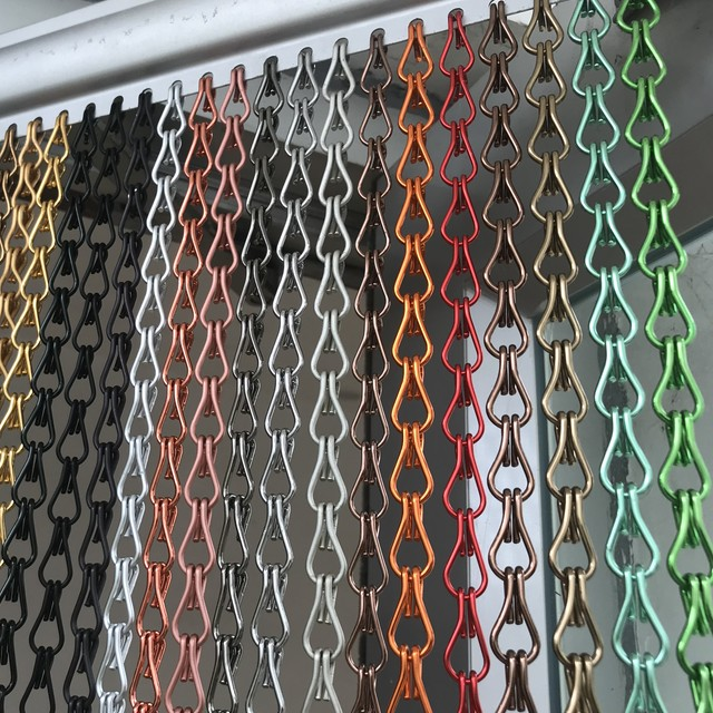 Decorative architectural chain link curtain mesh, metal beads hanging chain curtain, architectural mesh shiny
