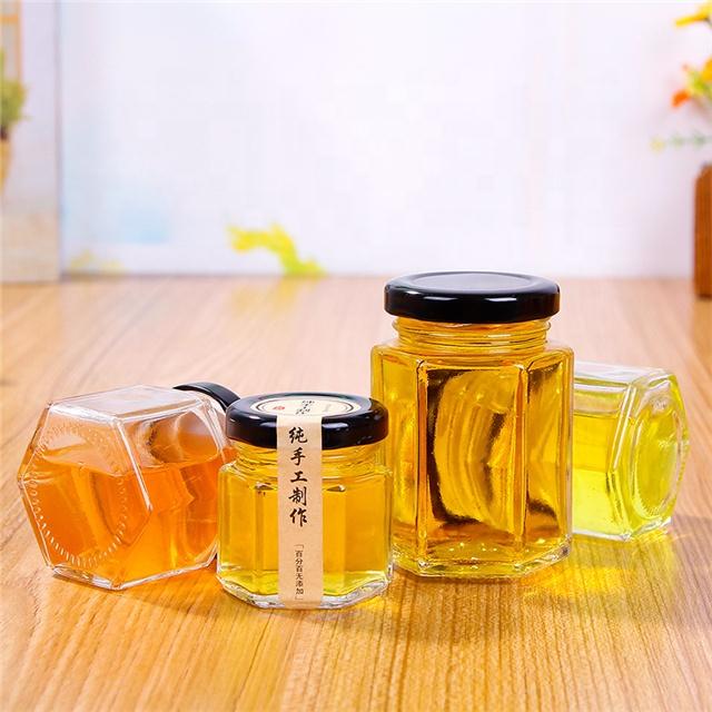 Hexagon food storage container honey jar glass 100ml 180ml 280ml 380ml 730ml