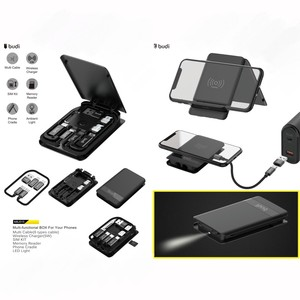 budi mini multi-functional phone wireless charger box with micro usb cable type-c cable for different types of portable devices