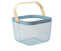 Multipurpose Japanese European Style 6 Colors Metal Mesh Wire Storage Basket With Wooden Handle