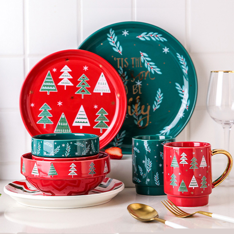 INS fashionable high quality home table dinnerware cheap western style ceramic christmas steak <strong>plates</strong>