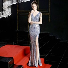 YIDINGZS сексуальное длинное вечернее платье с разрезом и блестками, женское вечернее платье с v-образным вырезом и бисером YD16596(Китай)