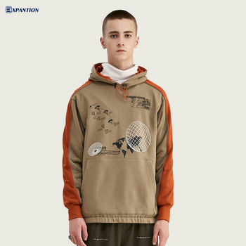 Factory Ready To Ship Europe Youth Popular Streetwear Contrast Color Pullover Hoodie