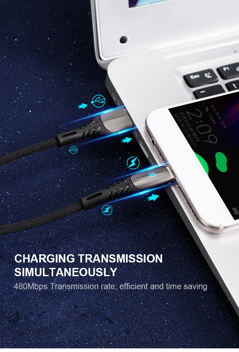 2019 New design nylon braided usb cable fast charging 2A cable for computer and smart phone