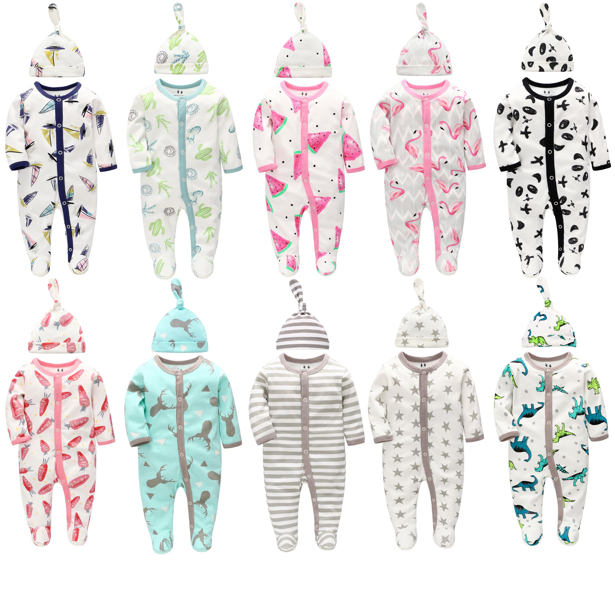 Factory Wholesale Baby Clothes with Hat 100% Cotton Newborn Infant Romper Set Pajamas Baby Rompers Clothes Printed Baby Clothes