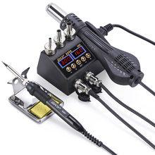 JCD 2 в 1 750 Вт пистолет горячего воздуха ЖК-цифровой дисплей сварочная паяльная станция для сотового телефона BGA SMD PCB IC ремонт припоя железа ...(Китай)