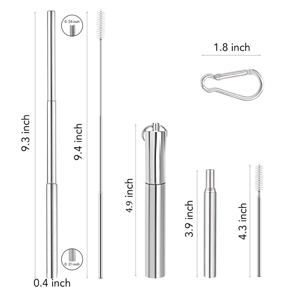 Wholesale custom reusable collapsible foldable stainless steel telescopic metal drinking straw set фото