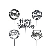 Five designs Black Happy Birthday Party Decorations Happy Birthday Acrylic Cupcake Topper for Birthday Cake Supplies Decorations