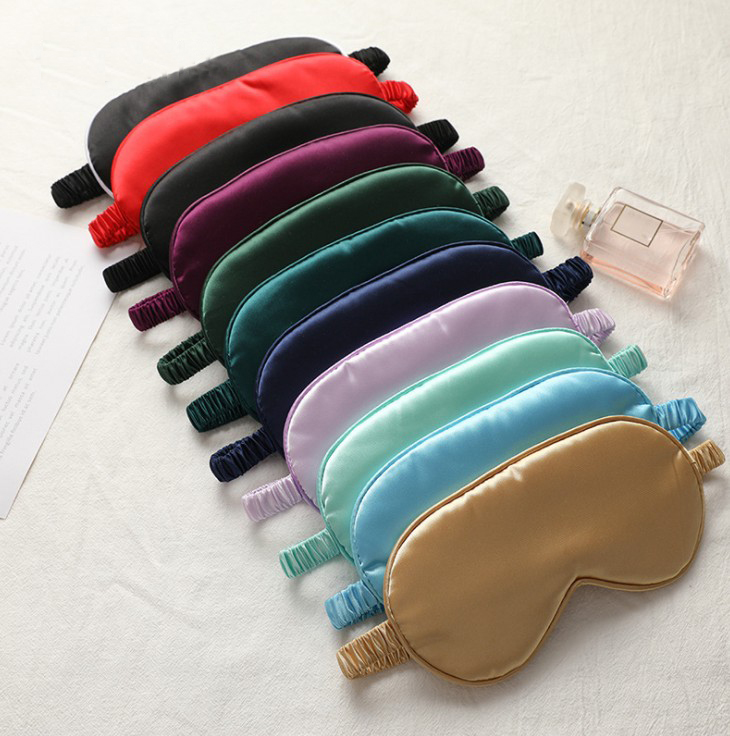 New design double sided satin silk sleeping eye mask with elastic band breathable travel silk sleep eye mask