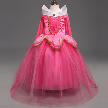Girls Aurora Princess Costume Kids Sleeping Beauty Cosplay Dress Long Sleeve Tutu Halloween Children Birthday Dress