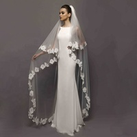 white scalloped edged long lace arabic mantilla wedding bridal veils
