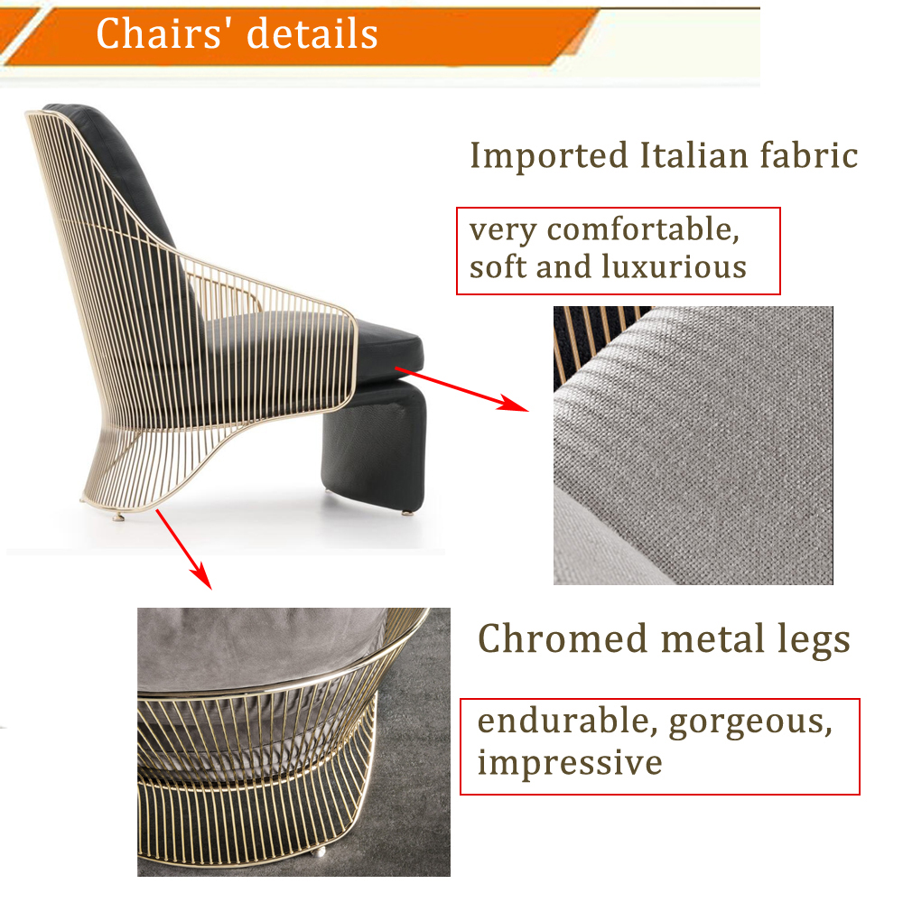 2019 luxury classic modern style metal frame lounge leisure Colette Bergere armchair