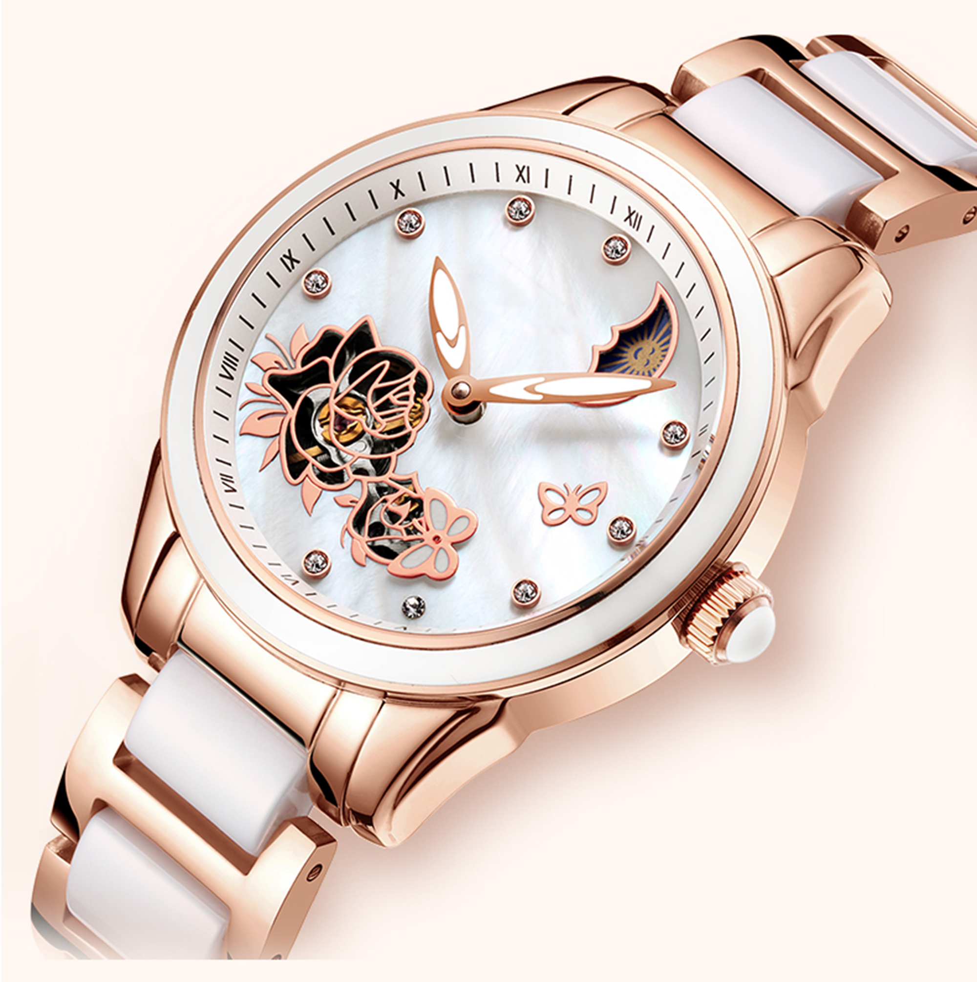 Luxury Lady's Stainless Steel <strong>Ceramic</strong> Strap Luminous Mechanical Automatic Wristwatch