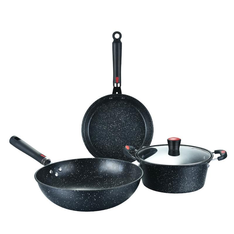 אמזון מכירה לוהטת כלי בישול סטי 3 חתיכות nonstick כלי בישול סטי בישול סיר